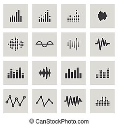 Vector line music soundwave icons set on grey background