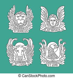 Four evangelists line symbols: angel, lion, bull and eagle....