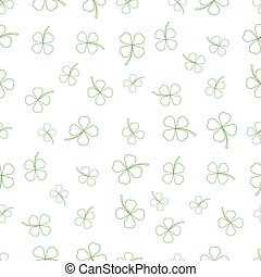 Natural Chamrock Texture. Cartoon Clover Leaves Isolated on...