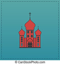 Church computer symbol - Church Red vector icon with black...