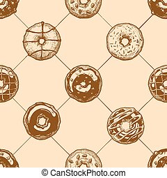 Pattern with donuts - Seamless pattern with delicious...