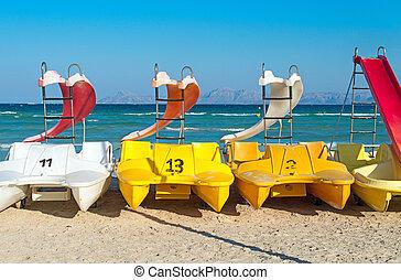 diapositives, eau, plage,  pedal-boats