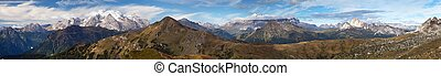 view from Passo Giau to Sella gruppe and Marmolada -...