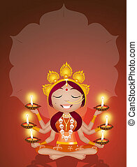 Goddess Kali for Diwali - illustration of Goddess Kali for...