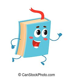 Funny book character running with bookmark ribbon visible,...