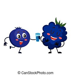 Cute and funny blueberry character offering drink to blackberry