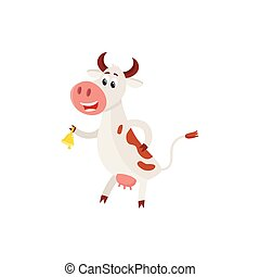 Spotted cow standing on hind legs and ringing a bell - Funny...