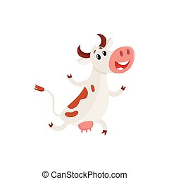 Funny brown and white spotted cow running on hind legs with...