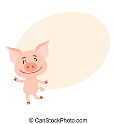 Little pig dancing on two rear legs with eyes closed - Funny...