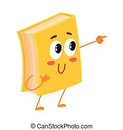 Funny book character pointing to something with finger,...