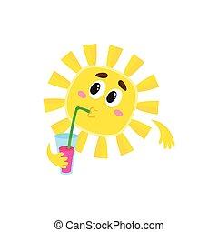 Thoughtful sun drinking cocktail, isolated cartoon vector illustration