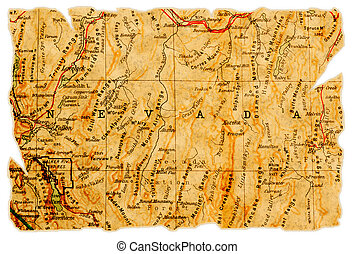 Nevada old map - Nevada on an old torn map from 1949,...