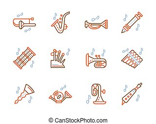Simple color line vector icons for brass music - Musical...