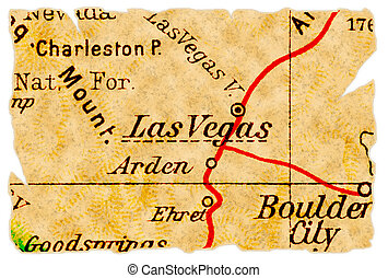 Las Vegas old map - Las Vegas, Nevada on an old torn map...