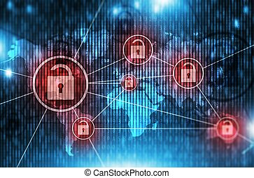 Unsafe Global Network Concept Illustration with Open Padlock...