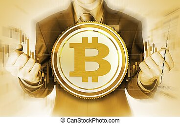 The Power of Bitcoin - Bitcoin Currency Trader Conceptual...