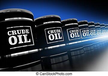 Line of Crude Oil Barrels 3D Rendered Illustration. Black...