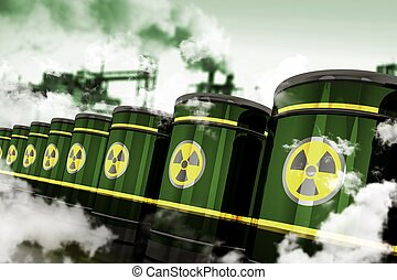 Radioactive Hazardous Waste. Toxic Waste in Metal Barrels...