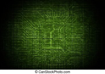 Electronic Circuit Background - Dark Green Electronic...