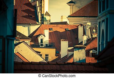European City Roofs. Prague, Czech Republic Architectural...
