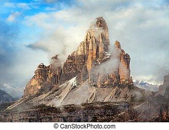 Morning view of Drei Zinnen or Tre Cime di Lavaredo with...