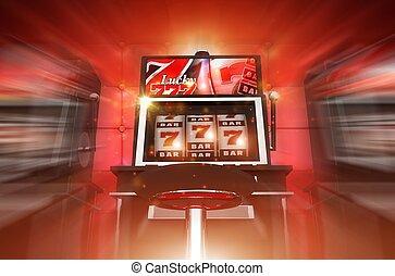 Lucky Slot Machine Winner Concept 3D Render Illustration....