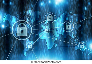 Global Network Safety Concept. Blue Networking Concept...