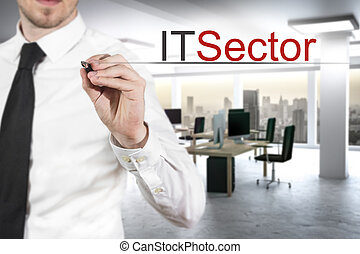 businessman in office building writing it sector in the air...