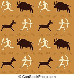Seamless Pattern with Cave Drawings Theme - Vector Seamless...