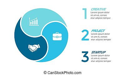 Vector circle arrows infographic, cycle diagram, graph, presentation chart. Business concept with 3 options, parts, steps, processes.