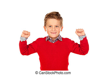 Happy winner kid with red jersey