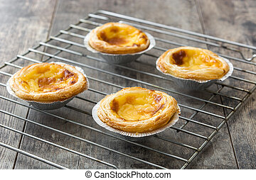 """Pasteis de nata"". Typical Portuguese egg custard tart on..."