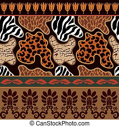 Seamless vector pattern with animal prints and ancient...