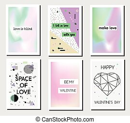 Artistic creative St Valentines day cards. Romantic modern...