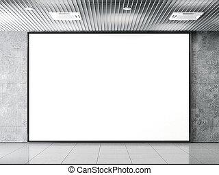 Horisontal blank billboard on a stone wall. 3d rendering -...