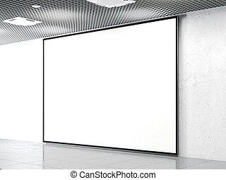 Blank billboard on a stone wall. 3d rendering