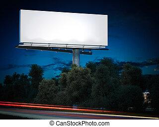 Blank billboard glowing at night. 3d rendering - Blank...
