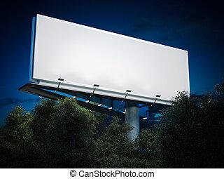 Blank billboard glowing. 3d rendering - Blank billboard...