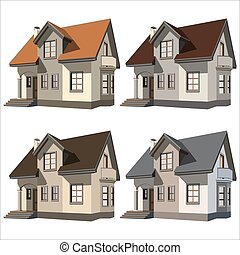 cottages - set of four cottages on white background vector...