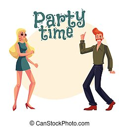 Red haired man, blond woman 1970s style clothes dancing...