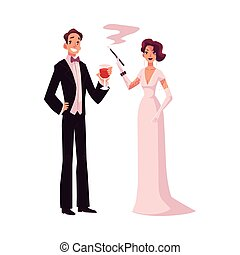 Man and woman in 1920s style clothes at vintage party - Man...