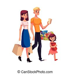 Family of father, mother, daughter shopping together
