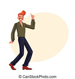 Red haired man in 1970s style clothes with beehive hair...