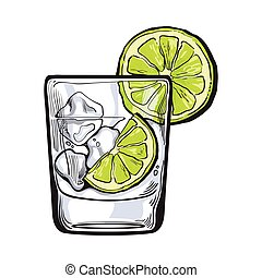 Glass of gin, vodka, soda water with ice and lime, sketch...