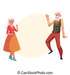 Full height portrait of old, senior couple dancing together