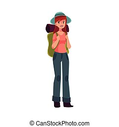 Young pretty girl travelling, hitch hiking with backpack,...