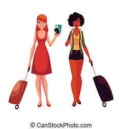 Two girls, black and Caucasian travelling together with suitcases