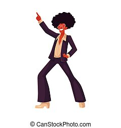 Man in afro wig and 1970s style clothes dancing disco,...