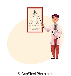 Optometrist doctor pointing to a letter on eye examination chart