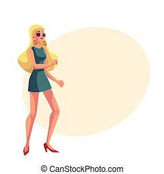 Young blond woman in short 1960s style dress dancing disco -...